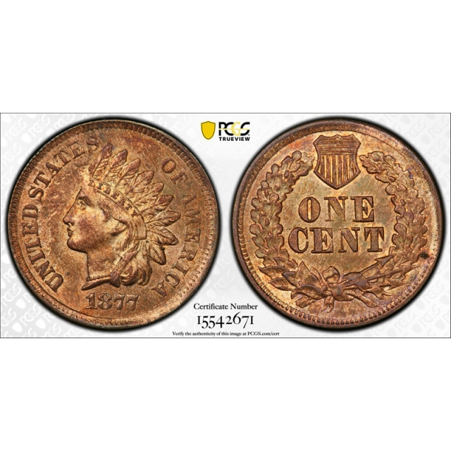 1877 1C Indian Head Cent PCGS MS 63 RB Uncirculated Red Brown Key Date Nice !