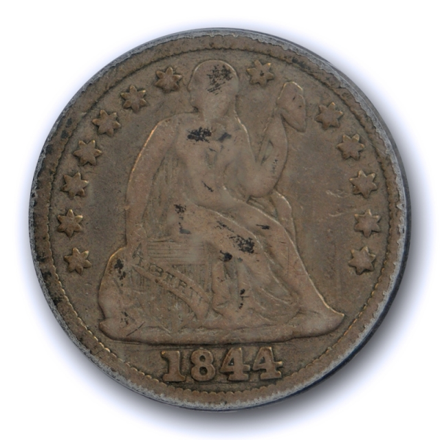 1844 10C Seated Liberty Dime PCGS F 12 Fine Key Date Low Mintage US Coin
