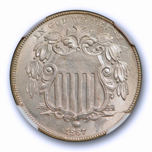 1867 5c No Rays Shield Nickel NGC MS 62 Uncirculated White U.S Type Coin