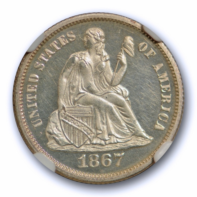 1867 10c Seated Liberty Dime NGC PF 65 CAM Proof Cameo Exceptional Coin !