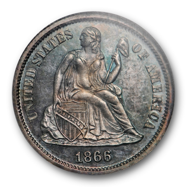 1866 10c Seated Liberty Dime NGC PF 63 Proof PR Pretty Toned CAC Approved Key Date