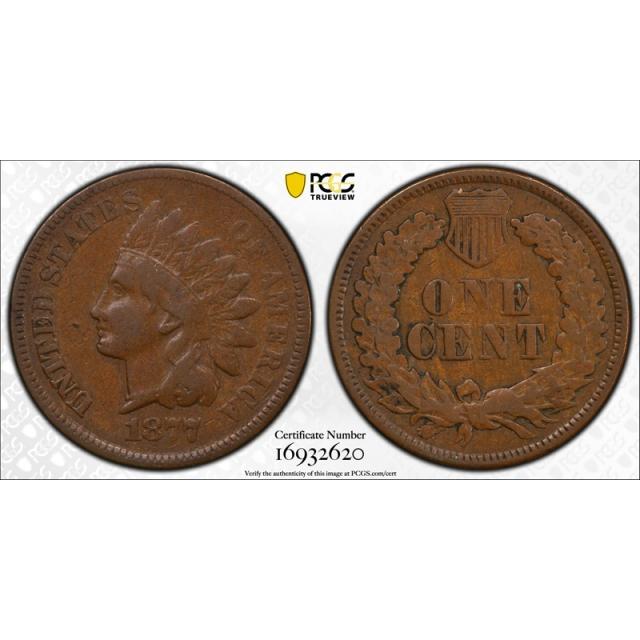 1877 1C Indian Head Cent PCGS F 12 Fine Key Date US Coin Tough !