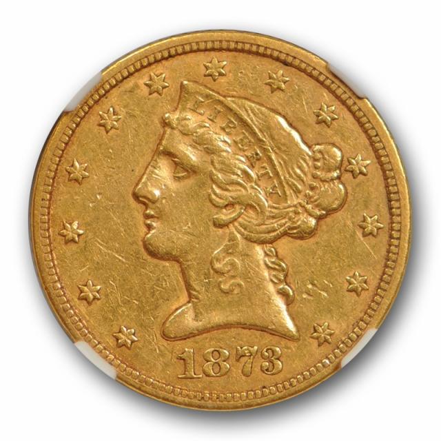 1873 S $5 Liberty Head Half Eagle NGC AU 50 About Uncirculated San Fancisco Mint !