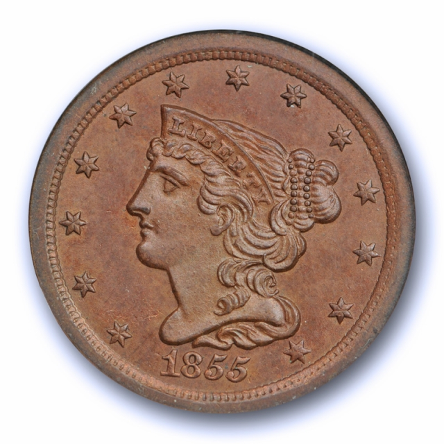 1855 1/2C Braided Hair Half Cent NGC MS 64 BN Uncirculated Old Fatty Holder !