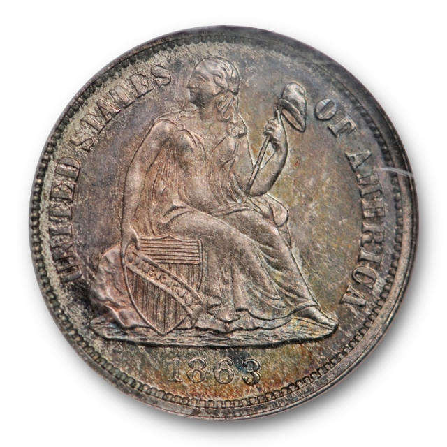 1863 10c Proof Seated Liberty Dime NGC PR 64 PF Original Toned Key Date Civil War Era