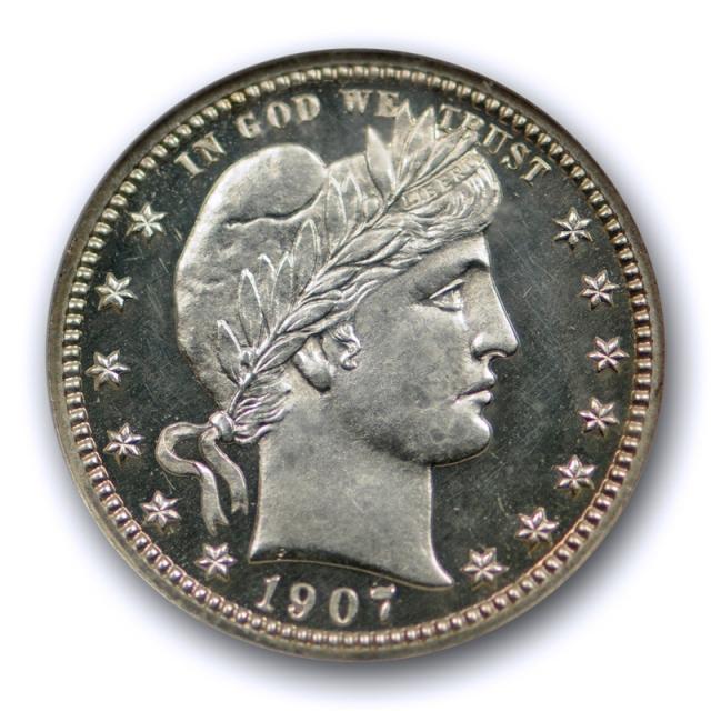 1907 25c Proof Barber Quarter NGC PF 65 PR Cameo Looks Deep Stunning Coin !