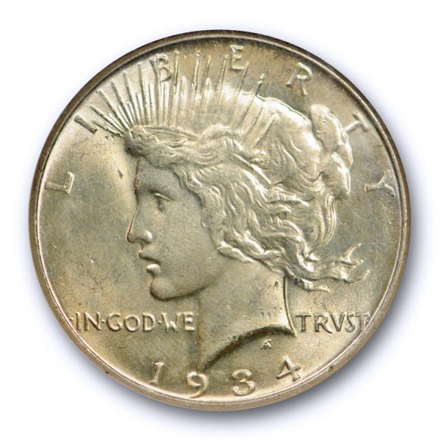 1934 $1 Peace Dollar NGC MS 64 Uncirculated Golden Toned Beauty Better Date Cert#8001