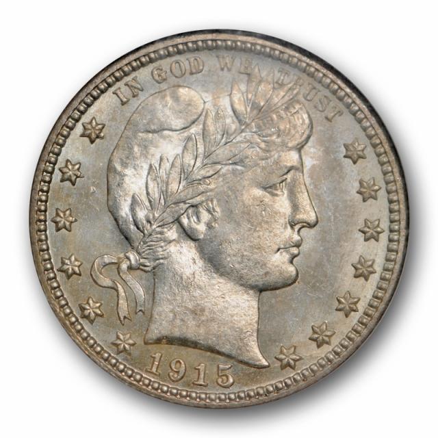 1915 25c Barber Quarter NGC MS 65 Uncirculated Gem Lustrous Beauty Light Toned
