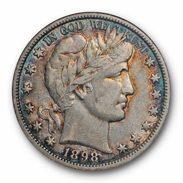 1898 O 50C Barber Half Dollar ANACS EF 40 XF Extra Fine Better Date Toned Pretty