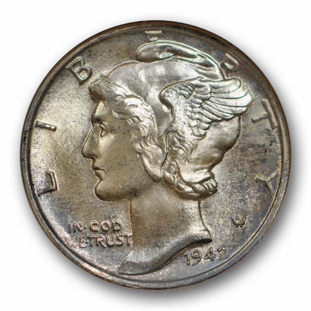 1942 10c Mercury Dime NGC MS 66 Uncirculated Gold CAC Sticker Stunning