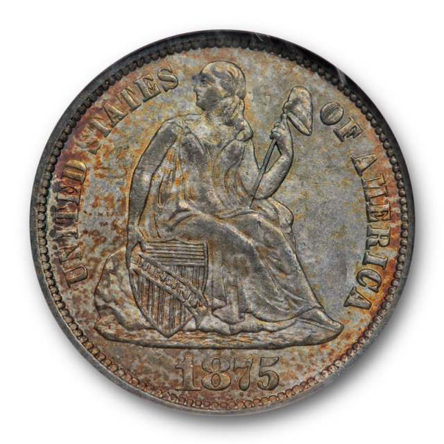1875 CC 10c Seated Liberty Dime NGC MS 63 Uncirculated Colorful Toned Above Bow