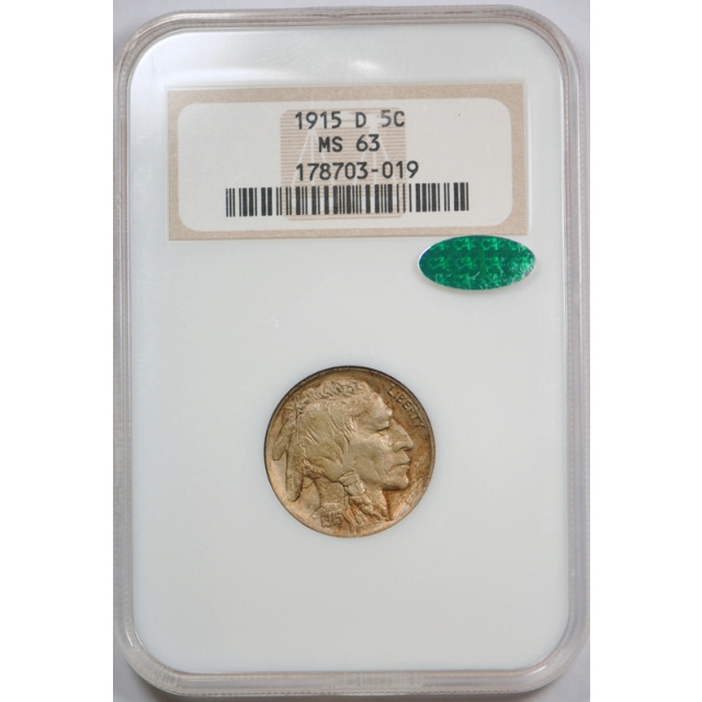 1915 D Buffalo Head Nickel NGC MS 63 Uncirculated CAC Approved Old Fatty Holder !