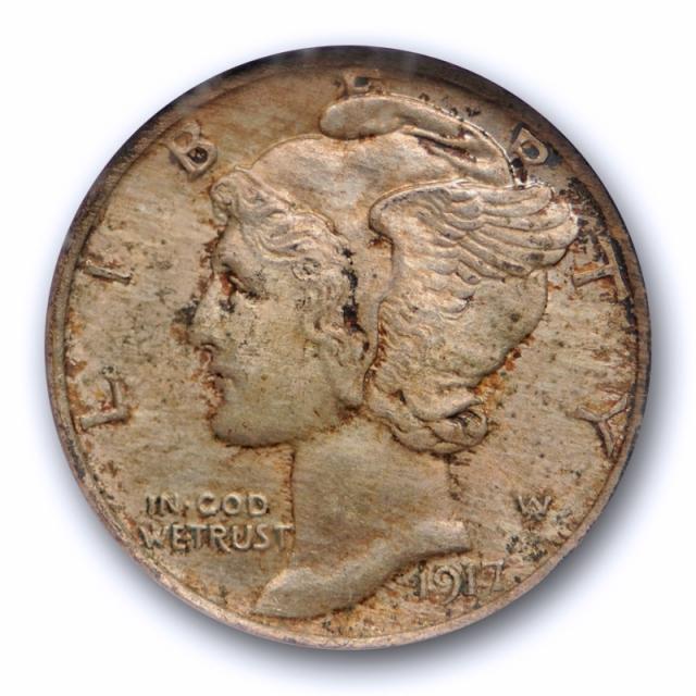 1917 10c Mercury Dime NGC MS 65 FB Uncirculated Full Bands Toned Original