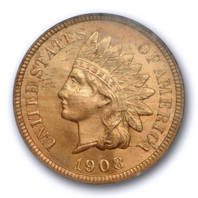 1908 S 1C Indian Head Cent NGC MS 64 RD Uncirculated Full Red Key Date !