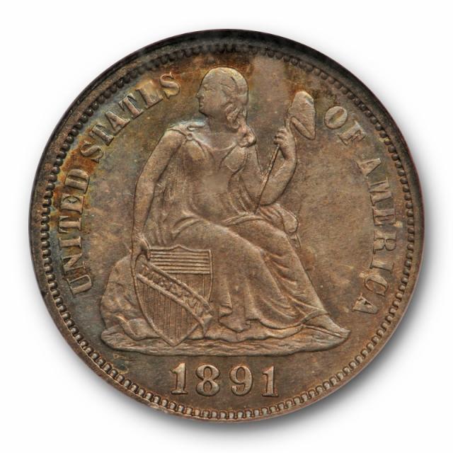 1891 O 10c  Seated Liberty Dime NGC MS 64 Uncirculated Toned Original