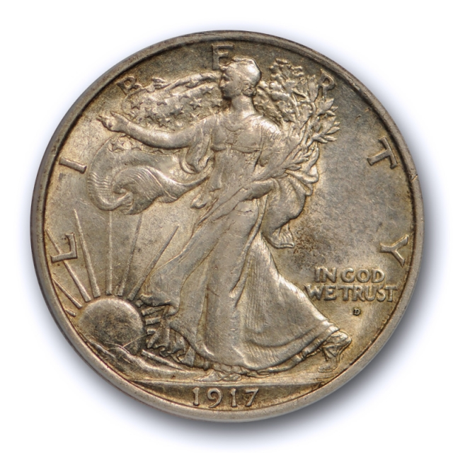 1917 D 50C Obverse Walking Liberty Half Dollar PCGS AU 55 CAC Approved Toned