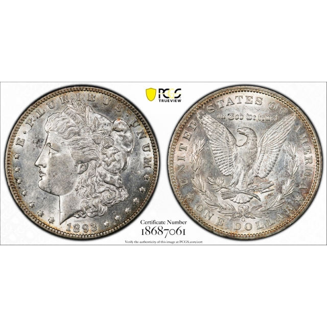 1893 O $1 Morgan Dollar PCGS AU 50 About Uncirculated Better Date Tough !