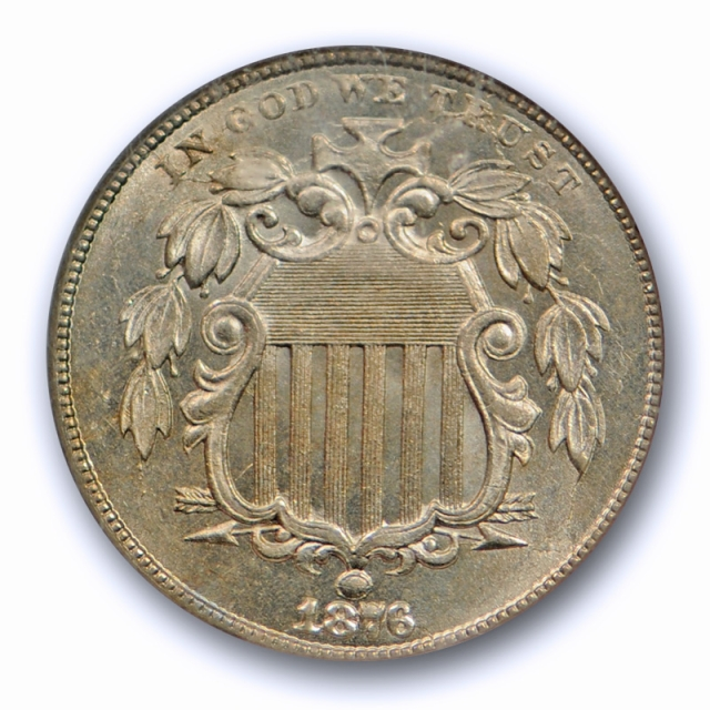 1876 5c Shield Nickel NGC MS 64 Uncirculated Better Date Original Coin Tough Grade