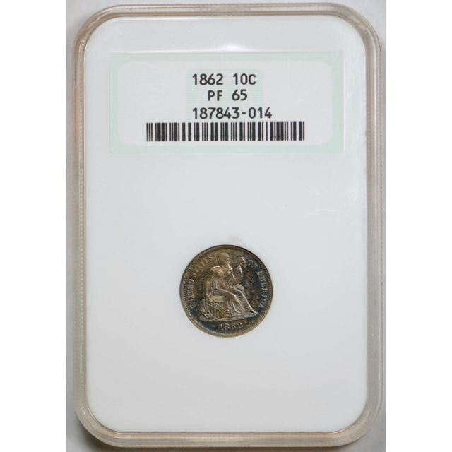 1862 10c Proof Seated Liberty Dime NGC PF 65 PR Toned Old Fatty Holder !