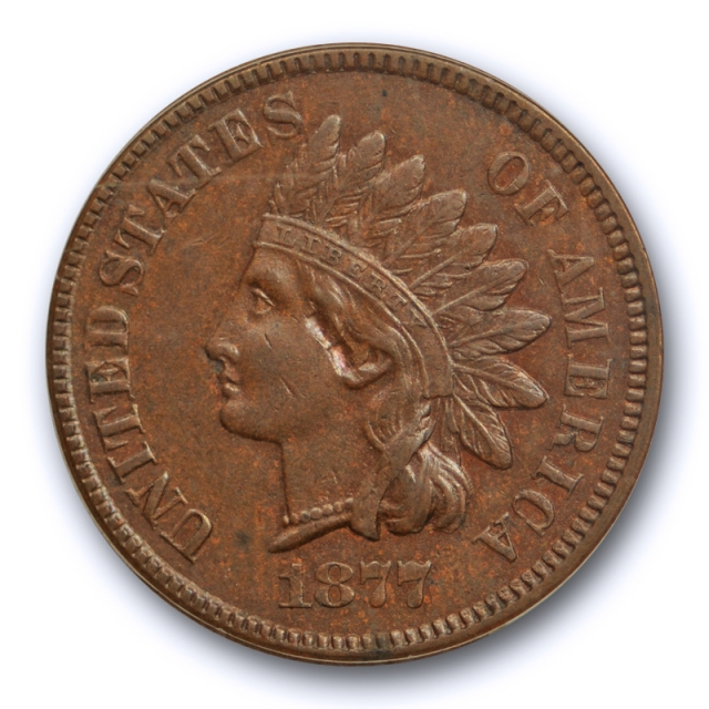 1877 1C Indian Head Cent ICG AU 58 About Uncirculated Planchet Flaw Key Date