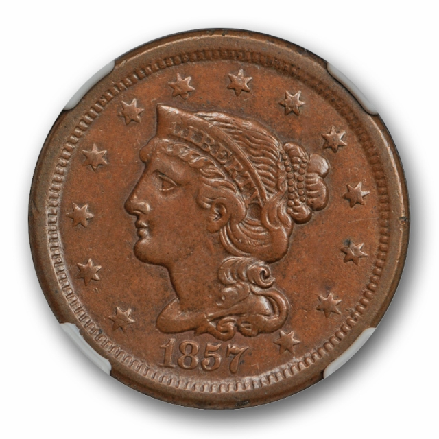 1857 1c Small Date Braided Hair Large Cent NGC AU 58 BN About Uncirculated +