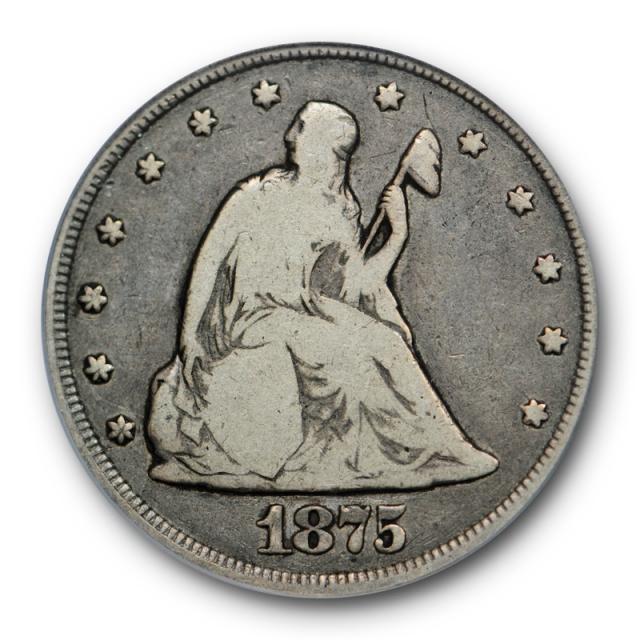 1875 CC 20C Twenty Cent Piece PCGS F 12 Fine Carson City Mint Perfect Original !