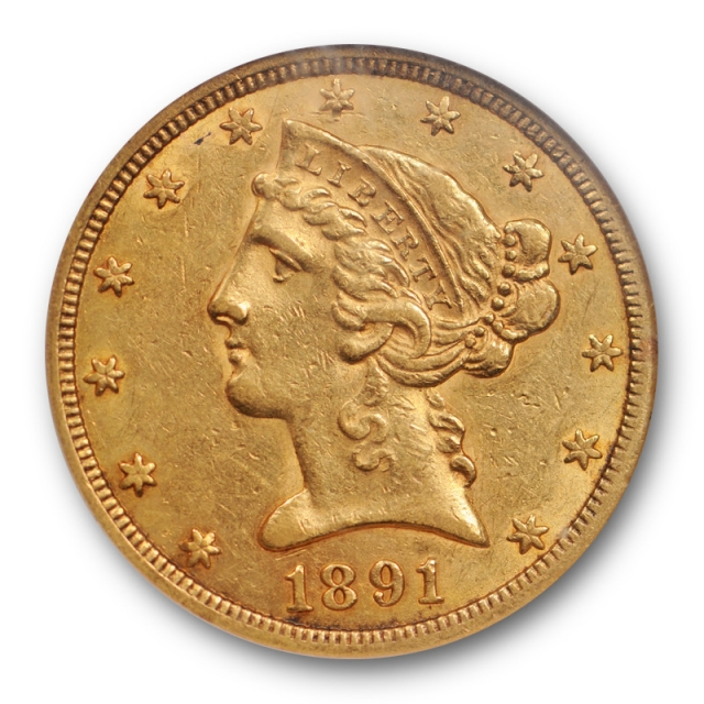 1891 CC $5 Liberty Head Half Eagle NGC AU 58 About Uncirculated Carson City