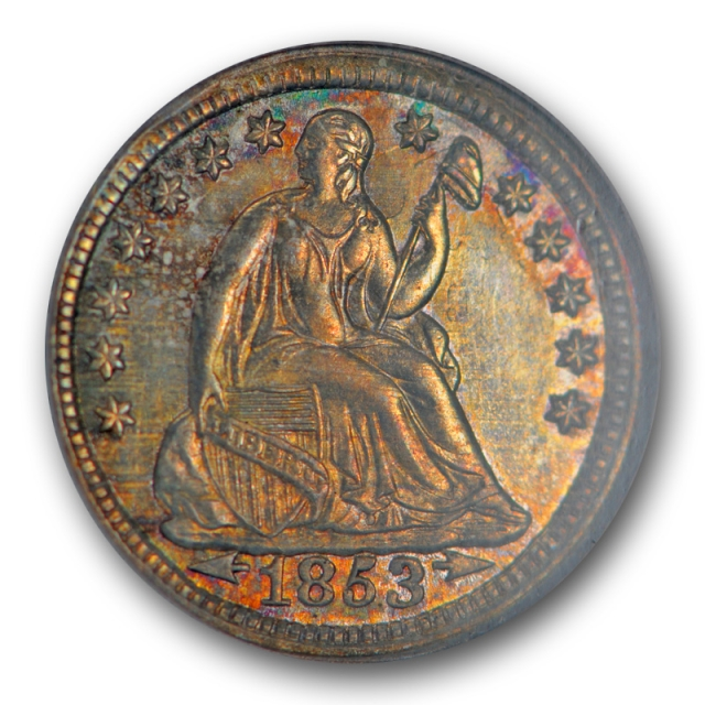 1853 With Arrows Seated Liberty Half Dime NGC MS 65 Uncirculated Pretty Toned