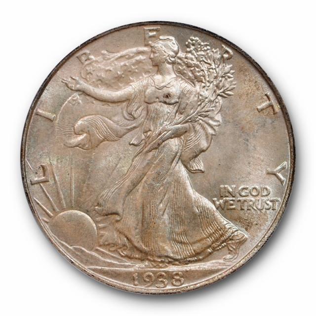 1938 50C Walking Liberty Half Dollar PCGS MS  65 Uncirculated Pink Toned