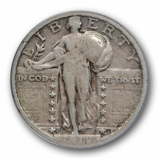 1918/7 S 25C Standing Liberty Quarter PCGS F 15 Fine to Very Fine Overdate 1918/17 S