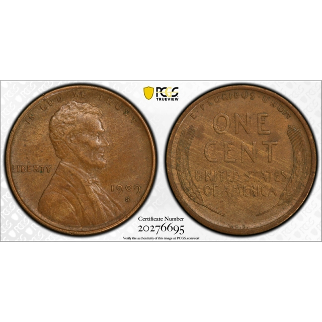 1909 S VDB 1C Lincoln Wheat Cent PCGS AU 55 About Uncirculated Key Date CAC