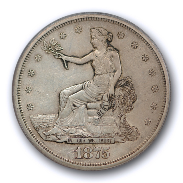 1875 S T$1 Trade Dollar PCGS AU 50 About Uncirculated San Francisco Mint Toned