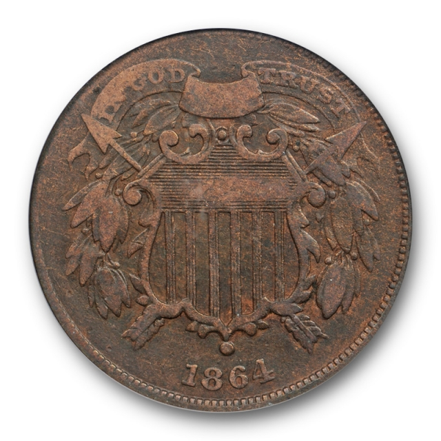 1864 2C Small Motto Two Cent Piece PCGS F 12 Fine Key Variety Original Brown