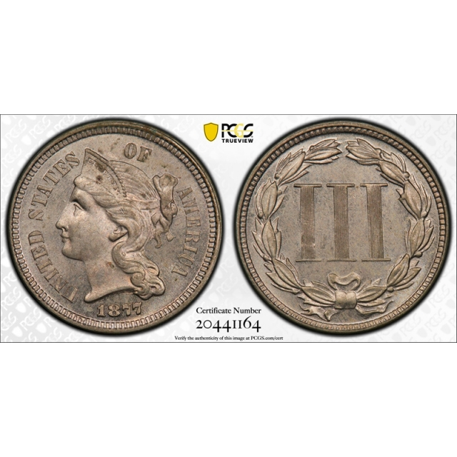 1877 3CN Three Cent Nickel PCGS PR 63 Proof Only Issue Key Date Original Coin Cert#1164