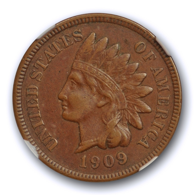 1909 S 1c Indian Head Cent NGC XF 45 Extra Fine to About Uncirculated Key Date Cert#3002