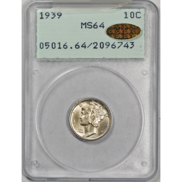 1939 10C Mercury Dime PCGS MS 64 Uncirculated Rattler Gold CAC Sticker