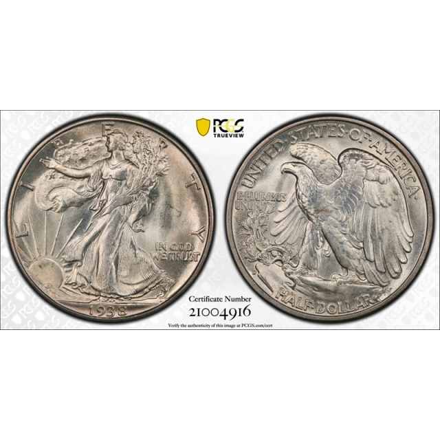 1938 D 50C Walking Liberty Half Dollar PCGS MS 65+ CAC Approved Stunning !