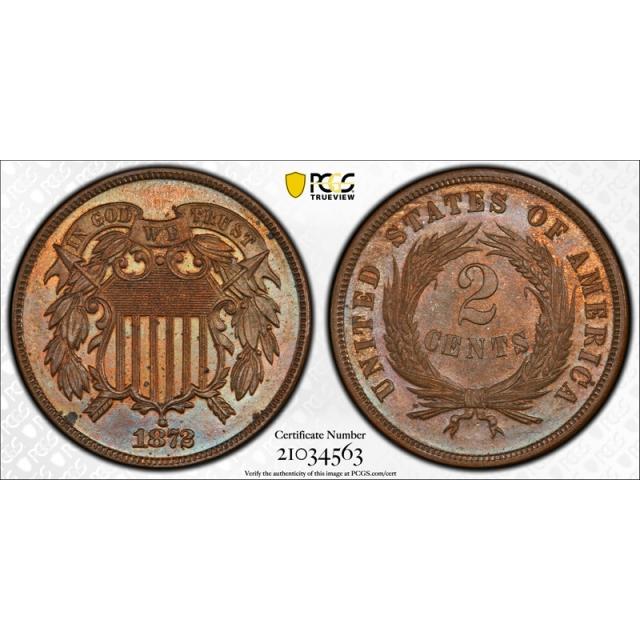 1872 2C Proof Two Cent Piece PCGS PR 63 BN Key Date Low Mintage Tough !