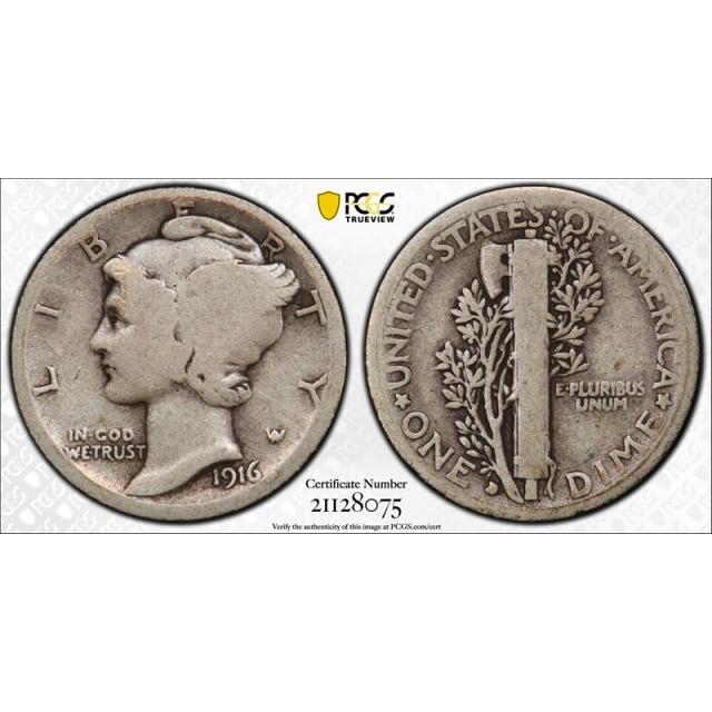 1916 D 10C Mercury Dime PCGS G 4 Good Denver Mint CAC Approved Key Date Cert#8075