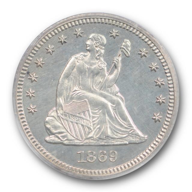 1869 25C Seated Liberty Quarter PCGS PR 63 Proof Key Date Low Mintage Blast White !