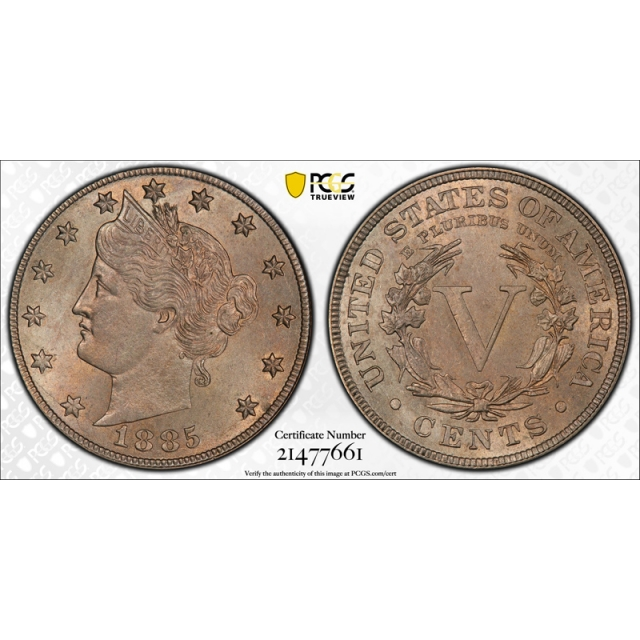1885 5C Liberty Head Nickel PCGS MS 64 Uncirculated Key Date Sharp Strike !