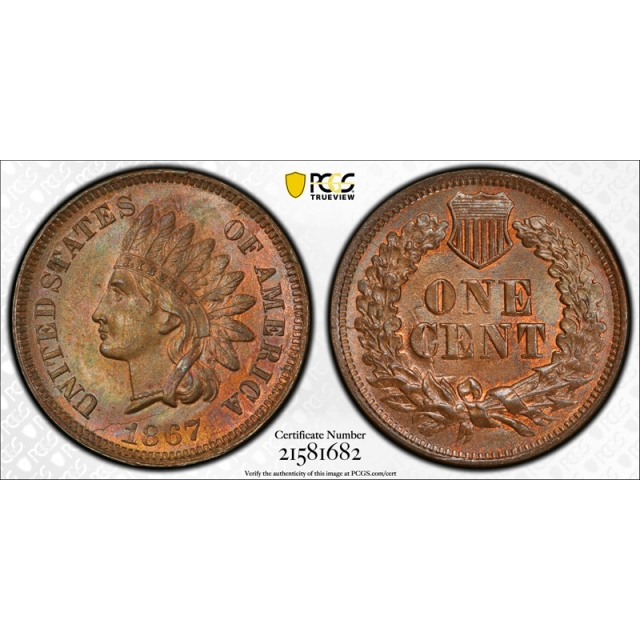 1867 1C Indian Head Cent PCGS MS 64 RB Uncirculated Red Brown Toned Beautiful Cert#1682