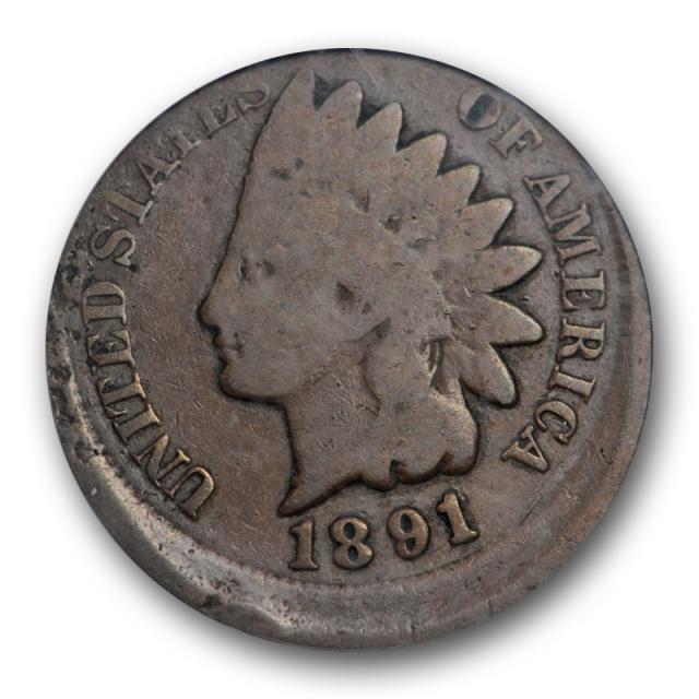 1891 1C Indian Head Cent PCGS G 4 Good Struck 5% Off Center Mint Error
