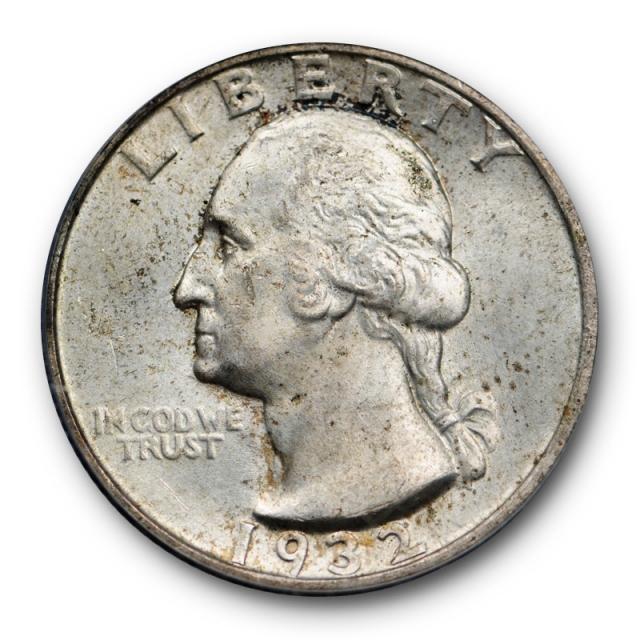 1932 S 25C Washington Quarter PCGS MS 64 Uncirculated Key Date Original Toned Cert#0845