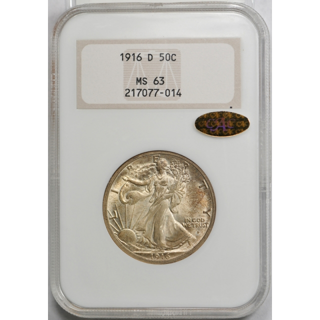 1916 D 50C Walking Liberty Half Dollar NGC MS 63 Uncirculated Gold CAC Sticker !