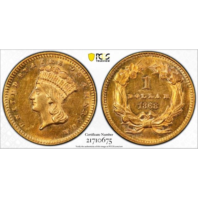 1868 G$1 Gold Dollar Princess Head PCGS MS 62 Uncirculated Key Date Nice !