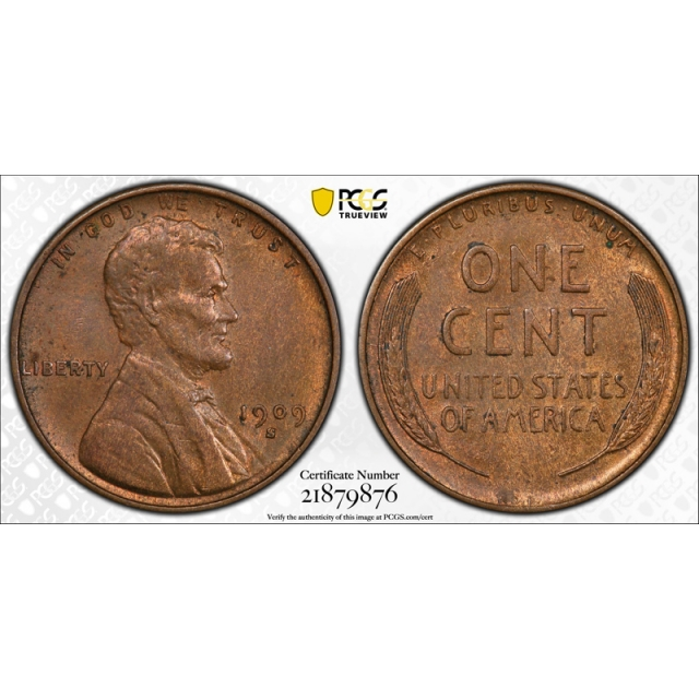 1909 S VDB 1C Lincoln Wheat Cent PCGS MS 63 BN Uncirculated Key Date Cert#9876