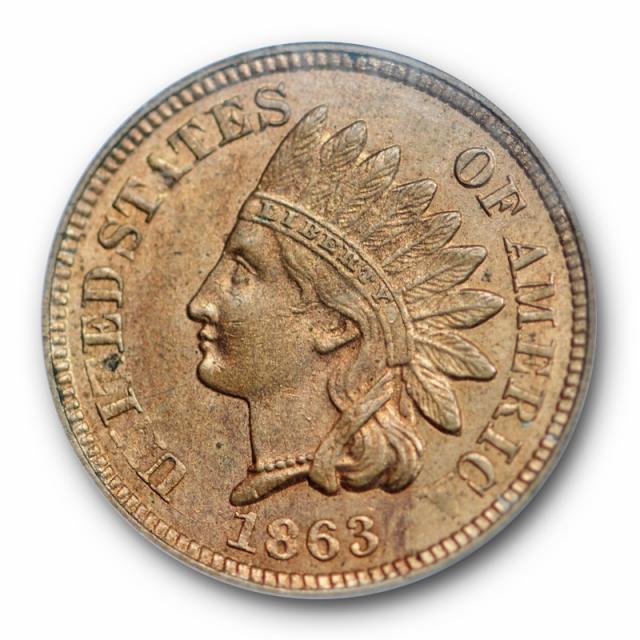 1863 1C Indian Head Cent PCGS MS 63 Uncirculated Copper Nickel Cert#4302