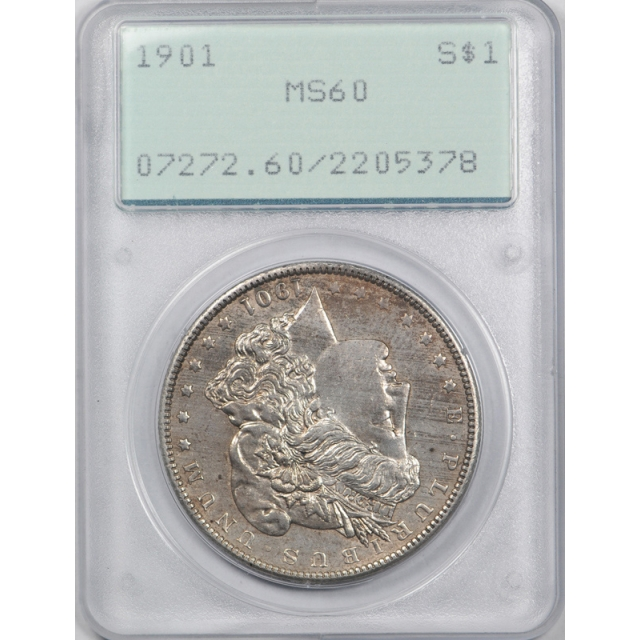 1901 $1 Morgan Dollar PCGS MS 60 Uncirculated Rattler Holder ! Undergraded OGH