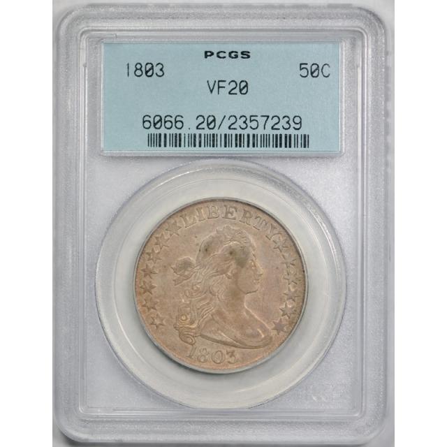 1803 50C Draped Bust Half Dollar PCGS VF 20 Very Fine OGH Undergraded